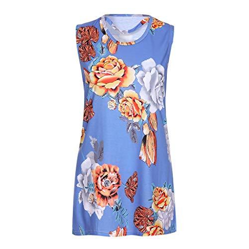 Fashion Tops, top Femme sans Manches Strap Floral Print Chiffon Sexy Tops Women's Tunic Croptops para Verano de lases Blue S