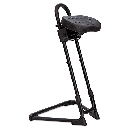 Integral Carry Handle - Sit/Stand Adjustable Stool, Swivel seat, Carry Handle and Rollers Provide Easy Mobility, Poke-, Tear-Resistant and Wipe-Friendly Seat, Non-Marring Rubber Padded Glides, Black + Expert Guide