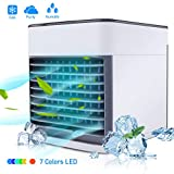BASEIN 2019 Latest Personal Air Cooler Fan, Portable Air Conditioner, Humidifier, Purifier 3 in 1 Evaporative Cooler with 3 Speed, Mini AC USB Cooling Desktop Fan for Bedroom, Travel, Office