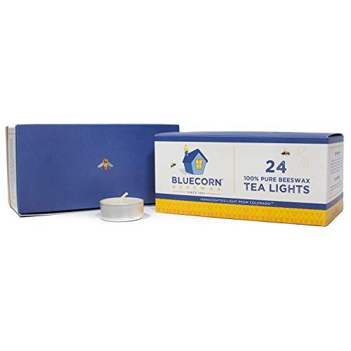 Bluecorn Beeswax 100% Pure Beeswax Tea Lights - Metal Cups (Ivory, 24-Pack) (Diffuser Bee Tea)