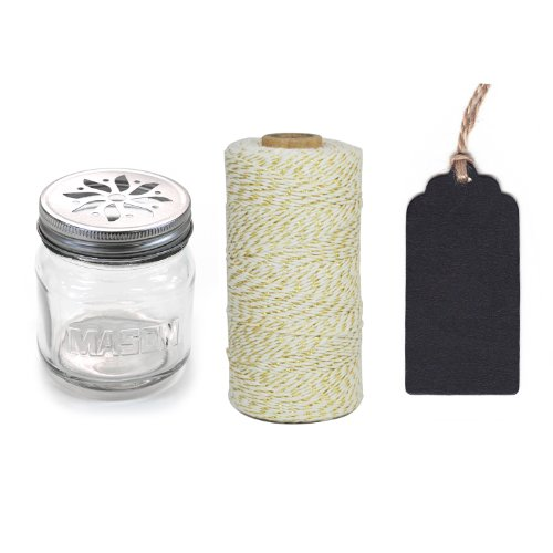 Dress My Cupcake 12-Pack Favor Kit, Includes Vintage Glass Mason Jar Sippers and Twine/Chalkboard Gift Tag, Gold Metallic