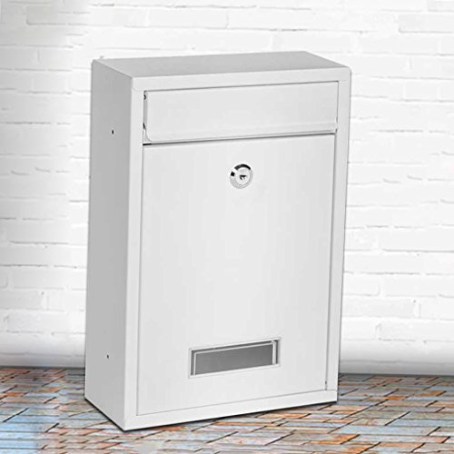 DNSJB Steel Post Box in Anthracite – Wall-Mounted Cylinder Lock Classic Premium Mailbox with Top-Loading Letter Slot (Color : White)