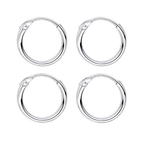 IminiJewelry Sleeper Cartilage Tiny Small Hoop Earrings 925 Sterling Silver Round Nose Ring Helix Tragus Piercings Dainty Endless Huggie Hoops 10mm 2 Pairs Set