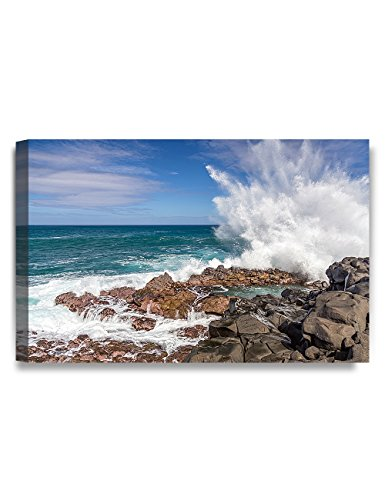 "IPIC - Waves crashing at Queen's Bath, Kauai, Hawaii. Personalized Artwork with Names and Date on, Perfect love gift for Anniversary,Wedding,Birthday and Holidays. 24#P (30x20"" )"