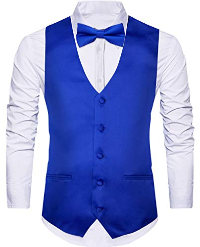 WANNEW Men's Suit Vest Business Waistcoat Dress Satin Vests 4 Paisley Vest Combo with Tie Bow Tie and Pocket Hanky for Suit or Tuxedo (X-Large, Royal Blue)