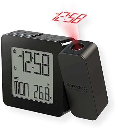 (Oregon Scientific RM338PA_BK Model RM338 PROJI Projection Atomic Alarm Clock, Indoor Temperature, Calendar Alarm, Snooze Functions, Dual Alarm, Black)