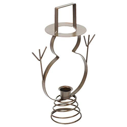 - Snowman Spring Pedestal 11 inch Antiqued Finish Metal Single Taper Candle Holder