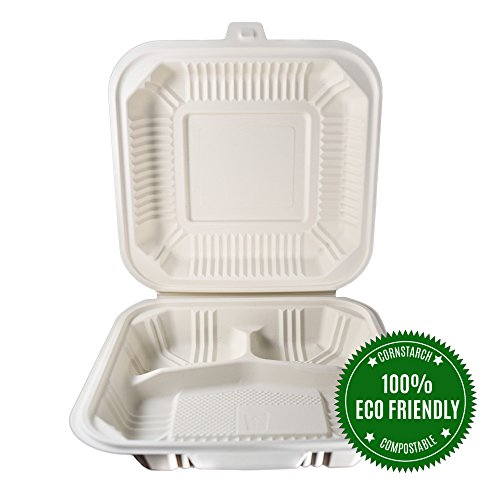Food Containers by HeloGreen | Takeout To-Go Containers - Hinged Compostable Cornstarch Microwaveable - Save the Earth, Eco-Friendly - 8