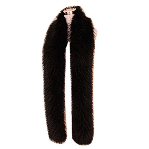 men-women-winter-warm-faux-fox-raccoon-fur-collar-stole-long-scarf-shawl-pure-black