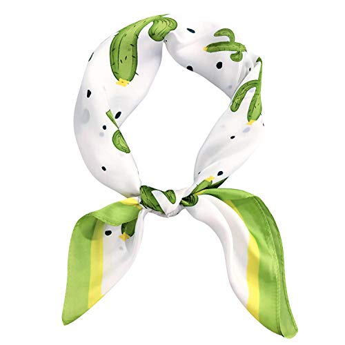 GERINLY Satin Neck Scarf Tropical Cactus Hair Scarf for Beach Vivid Purse Scarf Bag Silk Accessory (Green)