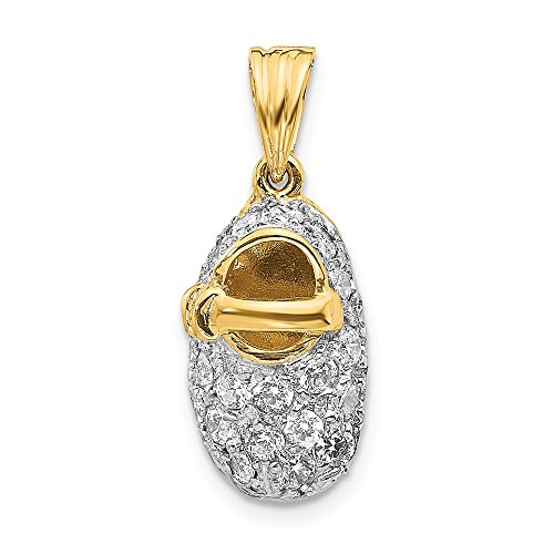 - 14k Yellow Gold Cubic Zirconia Cz Baby Shoe Pendant Charm Necklace Birthstone Fine Jewelry Gifts For Women For Her