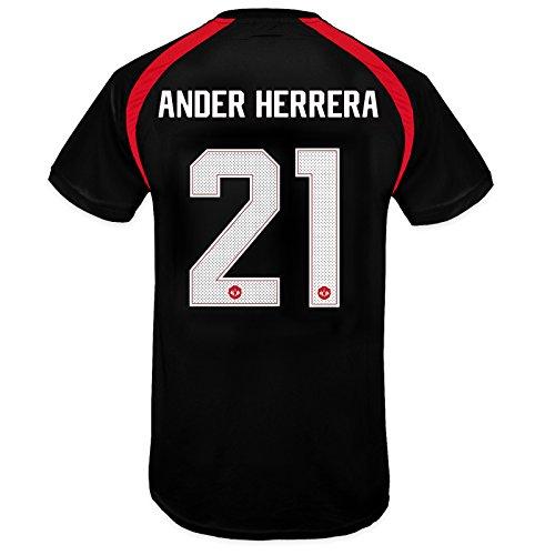 Manchester United FC Boys Herrera 21 Poly Training Kit T-Shirt Blk 6-7 Yrs