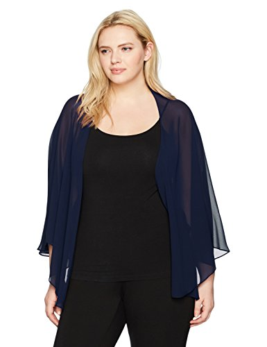 S.L. Fashions Women's Plus Size Solid Chiffon Cascade Crop Shrug, Navy, 1x/2x
