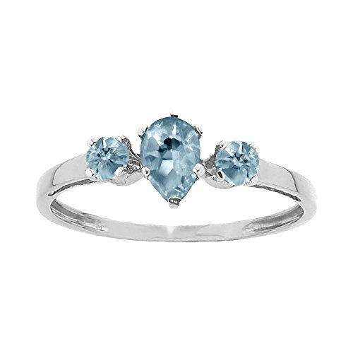Sun Round Ring (ArtCarved Sunshine Simulated Aquamarine March Birthstone Ring, Sterling Silver, Size 6)