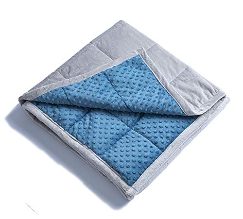 "Dot Minky New (Daverose Calming Weighted Blanket for Kids 10lbs 38""X62"" for 80-110lbs Kids Twin Size|Plush Minky One Piece Design|Children Comfort Sensory Heavy Blanket (Azurite Minky Dot/Light Grey))"