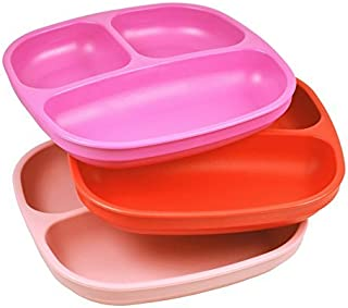 product image for Re-Play Made in USA 3pk Divided Plates with Deep Sides for Easy Baby, Toddler, Child Feeding - Bright Pink, Red & Light Pink (Valentine)