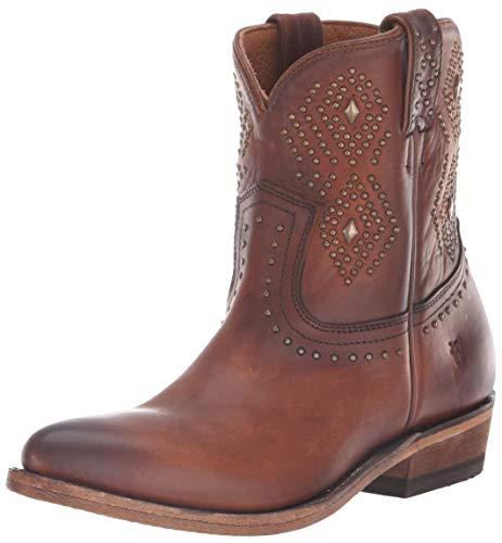 FRYE Women's Billy Stud Short Western Boot, Cognac, 6.5 M US