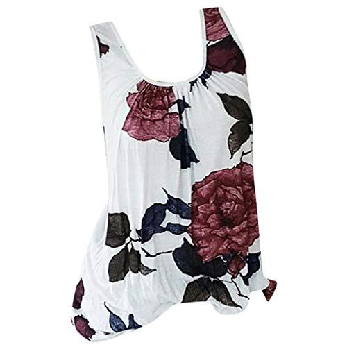 - Womens Sleeveless T-Shirt Tees Casual Flower Print CrewneckPlus Size Blouse Tops