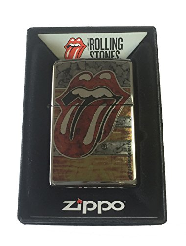 Zippo Custom Lighter - Rolling Stones Tongue Fusion Design High Polish Chrome Zippo Chrome Ring