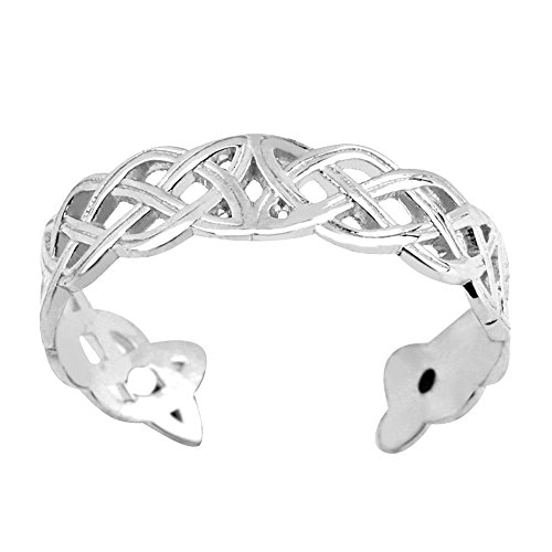 Ring Celtic Toe 14k (14K White Gold Celtic Knot Weave Design Cuff Style Adjustable Toe Ring)