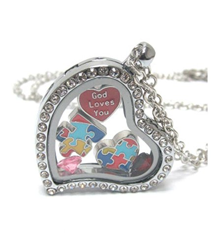 """ORIGAMI-STYLE AUTISM Puzzle Heart Floating Charm Heart Locket 24 """" Necklace"""
