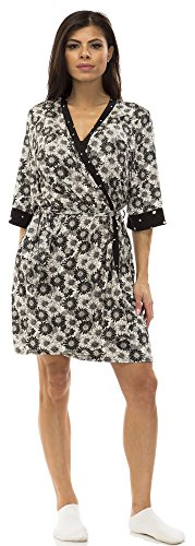 Jessica Simpson Womens Lace Trim Floral Print Robe and Chemise Set