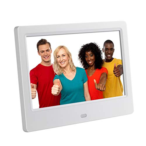 Chezaa 7inch HD LCD Digital Photo Frame,with Alarm Clock Slideshow MP3/4 Player,Creative High-Definition Senso,for Home Bedroom (White) (Case Player Creative Digital)