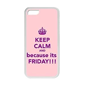 """meilz aiaiKeep Clam Series """"""""Keep Clam and It's Friday"""""""" Funny Special Custom Cover Case For ipod touch 4(White) with Best Silicon Rubbermeilz aiai"""