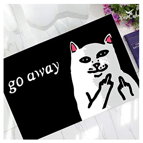Hidecor Front Door Mat Outdoor Indoor 3D Printing Enter Funny Doormat Outside Large Rubber Thin Non Slip Carpets for Bedroom Kitchen Patio Garden, 2' x 3'(Go Away Cat)
