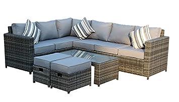 YAKOE 50110 New Conservatory Modular 8 Seater Rattan Corner Sofa Set ...