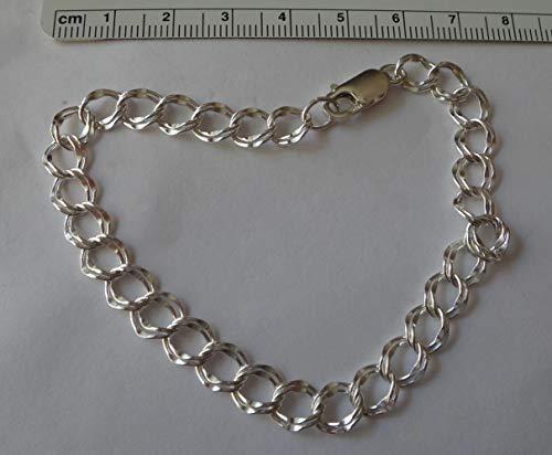 Fine Charms 7'' Sterling Silver 7mm Diamond Cut Double Link Traditional Bracelet 7' Double Link Charm Bracelet