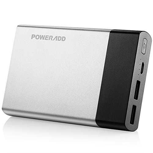 Poweradd Portable Charger Pilot 5G 10000mAh External SANYO Battery Cell 3.4A Charger Pack with Smart Charge for iPhone, iPad, Samsung Galaxy Note and More - Silver by POWERADD