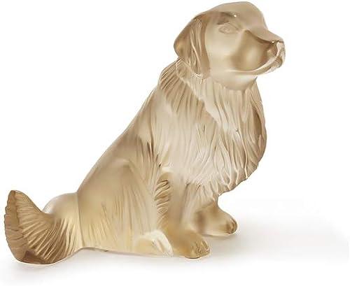Lalique Crystal Golden Retriever Sculpture Gold Luster