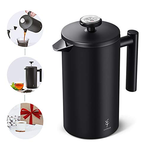 Soulhand French Press Coffee Maker with Thermometer ,Double Wall Black Stainless Steel Design and 4 Layer Filters Blocking Powder Perfect for Moring Coffee Cold Brew Tea (34oz/1 Liter)
