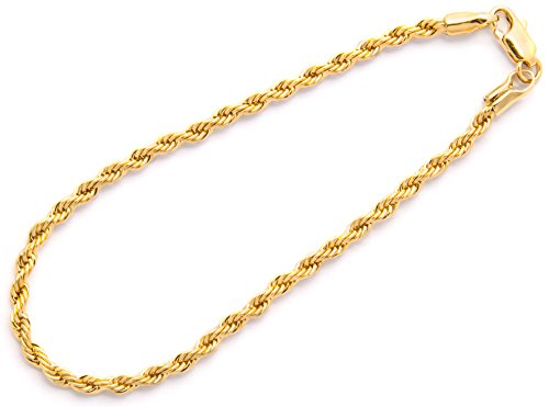 "Bracelet Womens Rope Bracelet (Gold Rope Bracelet - 3MM Stunning 24K Overlay Fashion Jewelry for Men or Women, Tarnish-Resistant, Looks and Feels Solid, Guaranteed for Life, In Gold Box, Made in USA by Lifetime Jewelry, 7"")"
