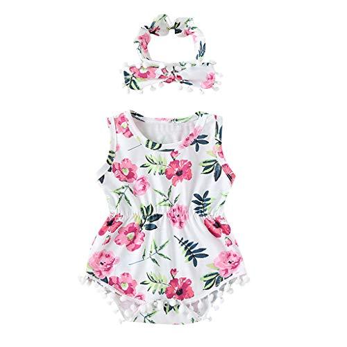 WOCACHI Unisex Baby Romper, Toddler Kids Baby Girls Sleeveless Tassel Floral Print Hair Band Romper Bodysuits]()