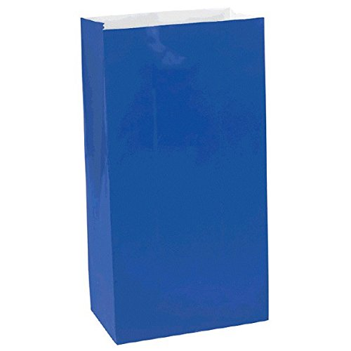 Party Friendly Solid Color Mini Treat Bags 6 x 3 x 2 Paper Pack of 12 Royal Blue