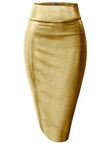 Womens Pencil Skirt For Office Wear-KSK43584X-3823-GOLD-3X by HyBrid & Company