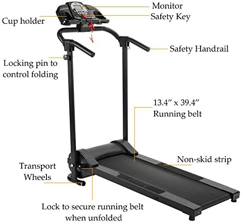 ZELUS Folding Treadmill for Home Gym, Portable Wheels, 750W Electric Foldable Running Cardio Machine with Cup Holder, Sports App Walking/Runners Exercise Equipment 5