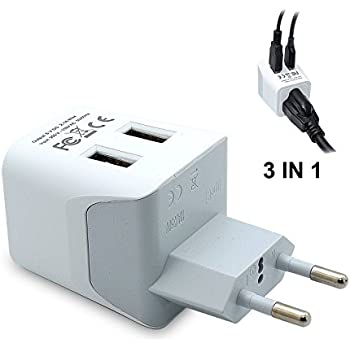 Ceptics USA to Most of Europe Travel Adapter Plug With Dual USB - Type C - Ultra Compact