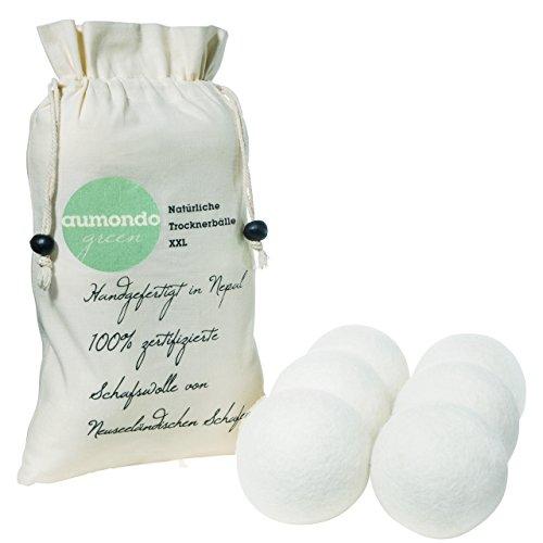 Trocknerbälle XL für Wäschetrockner. 6 extragroße Filzbälle, der natürliche Weichspüler. Ideal für Daunenjacken. Trocknerkugeln