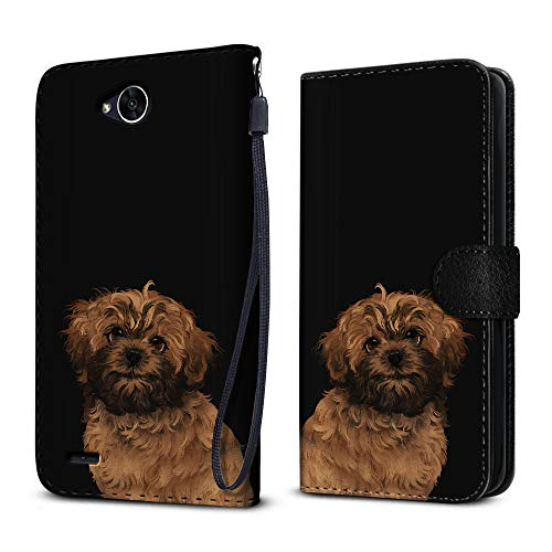 FINCIBO Case Compatible with LG X Power 2 LV7 M320 5.5 inch, Protective Canvas Pouch Case Card Holder TPU Cover For LG X Power 2 LV7 (NOT FIT LG X Power) - Cute Fawn Black Mask Short Hair Shih Tzu Dog ()