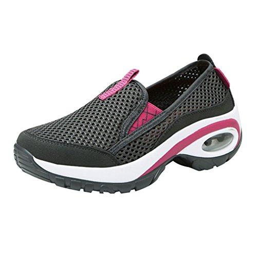 Verano de Las Mujeres al Aire Libre Que recorre los Zapatos Deportivos Cojín de Aire Antideslizante de Malla Zapatos Transpirables Senderismo montañismo Fácil de Usar Zapatos Rosa Gris