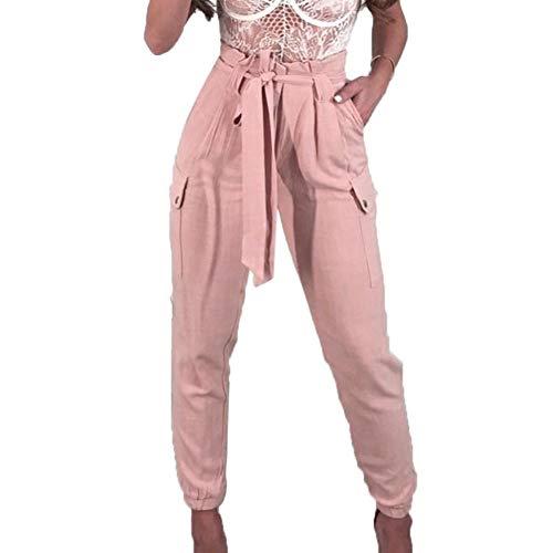 Cargo Leggings Capri (JOFOW Women's Leggings,Solid Elastic High Waist Cotton Linen Loose Belt Tie Pocket Flares Cargo Pencil Pants Women (L,Pink))