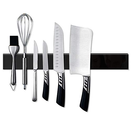 - 16 Inch Magnetic Knife Strip Stainless Steel Sangyn Magnetic Knife Bar,Knife Holder, Knife Rack, Kitchen Utensil Holder with Powerful Magnetic Pull Force,World's First, Limited Supply! (Black)