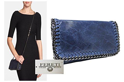 Comprar Barato 100% Auténtico Espacio Libre En Línea Ebay FERETI borsa blu royal a tracolla con catena vera pelle xgdUpFB