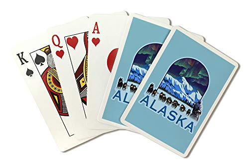 Alaska - Iditarod - Northern Lights and Dog Sled - Lithograph - Badge (Playing Card Deck - 52 Card Poker Size with Jokers)