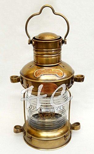 Antique Brass & Copper Anchor Oil Lamp Nautial Maritime Ship Boat Light Lantern