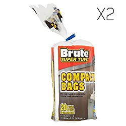 (2 Pack) Brute Super Tuff Heavy Duty 20 Gallon Size Compactor/kitchen Bags - White