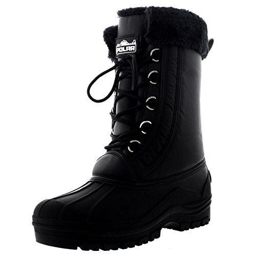Cuff Snow (Polar Womens Walking Waterproof Hiking Fur Cuff Snow Winter Muck Rain Boots - Black - US8/EU39 -)